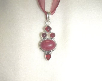PAY IT FORWARD - Purple jade pendant necklace with garnet accent stones (P054)