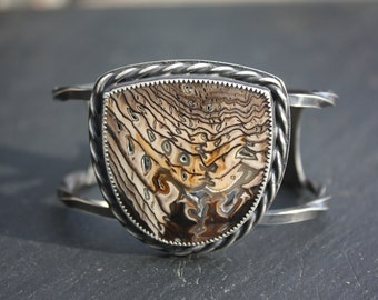 Hell's Canyon, Petrified Wood, Sterling Silver, Cuff Bracelet