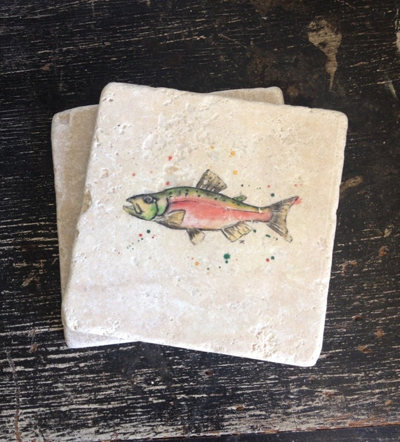 Fishing stone coasters puddle paints artwork salmon fish for Puddle of fish