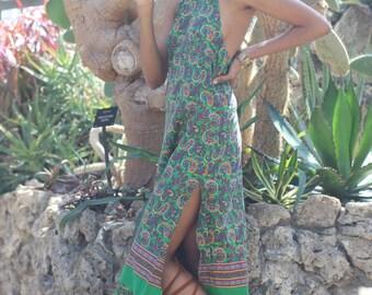 70's Bohemian paisley print halter dress