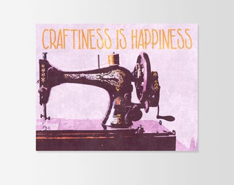 Craftiness is Happiness Art Typograhy Inspirational Quote Wall Fine Art Prints, Art Posters