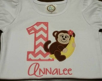 Monkey and Banana // Girls Monkey Birthday Shirt // Monkey First Birthday Shirt // monkey applique shirt