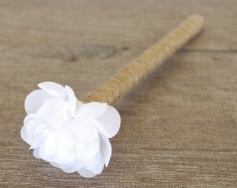 stylo pour livre d'or mariage fleur blanche - wedding guest book pen with white fabric flower