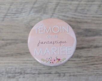 """Badge pastel pêche """"Témoin de la fantastique mariée"""" / Pastel peach badge"""