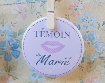 "Badge rose ""Témoin du marié"" / Pink badge for wedding"