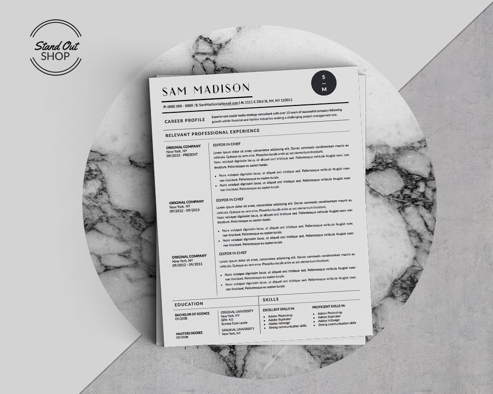 sam madison resume template for microsoft word and apple pages