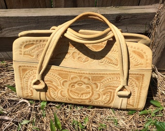 50s vintage Flores Bags TOOLED LEATHER BAG, purse/duffle/handbag/yellow carved floral Mexico genuine