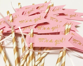 It's a Girl! Straw Flags (straws are not included) - 24 flags