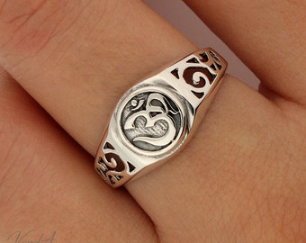 Sterling Silver 925 OM Ring silver band OM ring meditation OHM ring Symbol of balance and peace ring (R-46)