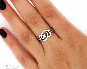 Sterling Silver 925 Celtic Knot 925 Ring Simple knot band everyday use ring (R55)