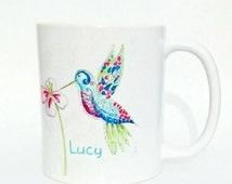 Hummingbird Coffee Mug Handmade Art Watercolour Artist Mug Blue Bird And Exotic Flower Mug And Card Set