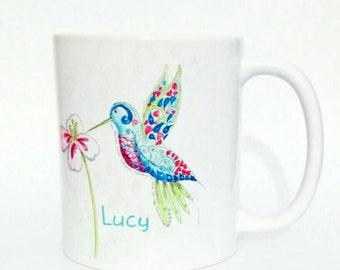 Hummingbird Coffee Mug Handmade Art Blue Bird mug Exotic Flower Mug And Card Set