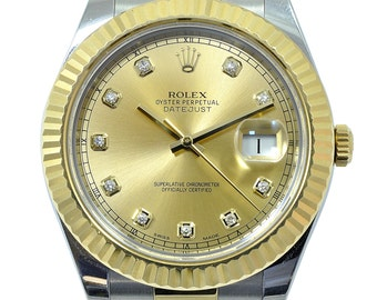 Rolex datejust steel and yellow gold, diamonds, second hand
