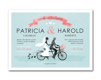 Bicycle Wedding invite- PERSONALIZE and it's Yours!