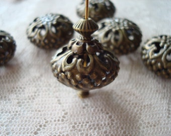 8 Giant Bronze Filigree Rondelles. Antique Bronze Finish Filigree Beads.  23x12mm. Beautiful and Unique. ~USPS Ship Rates from Oregon