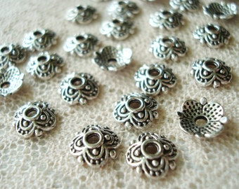 32 Antique Silver Finish Beautiful Domed Flower Caps. Ornate, Tiny, 4 Petals and Dots Flower Caps. 7.5x2mm  ~USPS Ship Rates from Oregon