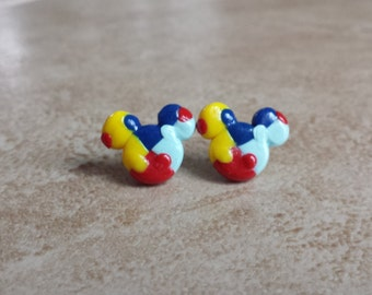 Autism Awareness Mickey Mouse Inspired Earrings