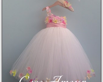 Pretty, Petal, Tutu Style Flower Girl Dress, flowers, wedding. Ages 1-12