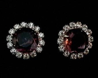 Vintage Deep Purple Rhinestone Clip-on Earrings