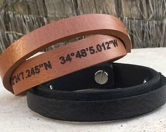 FREE SHIPPING-Men Bracelet,Men Leather  Braceelet,Mens Engraved Bracelet, Mens Personalized Bracelet,Engraved Bracelet,Mens stampedBracelets