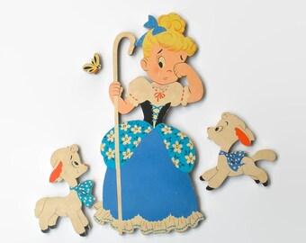 Little Bo Peep Mother Goose Nursery Decor Cardboard Cut Out Vintage Retro 1950s Nursery Rhyme