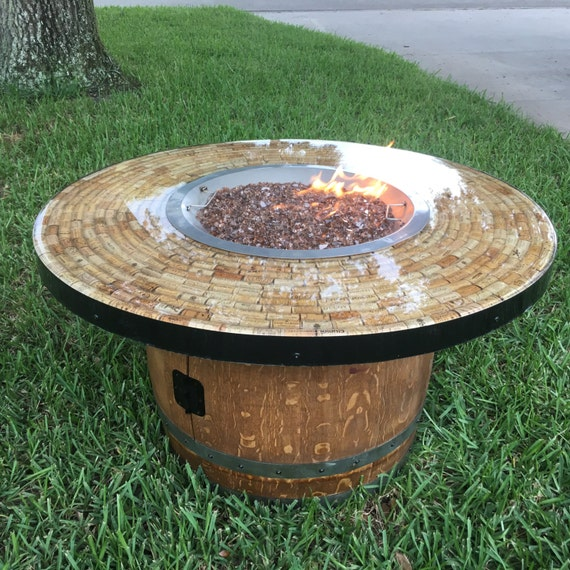 Round Cofffee Table Height Wine Barrel Fire Pit