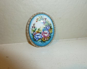 Vintage Hand Painted Enamel Brooch From Russia