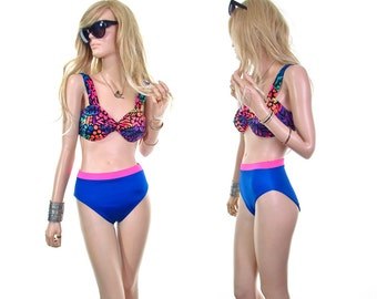 summer lovin' vintage 80s swimsuit | 80s bathing suit 80s bikini swimsuit neon bathing suit grunge bathing suit vintage womens clothing m