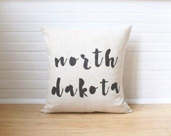 North Dakota Pillow NDSU Bison State Pillow ND Home Decor Wedding Gift Linen Pillow Housewarming Gift Home Decor