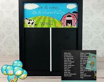 Magnetic Chore Charts - Farm Chore Chart - Magnetic Chalkboards - Classroom Job Chart - Family Organization - Animal Theme - Kids Room Decor