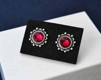 Swarovski Ruby Stud Earrings, July Birthstone Earrings, Swarovski Birthstone Earrings, Red Earrings