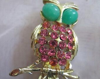 Jeweled Owl Brooch