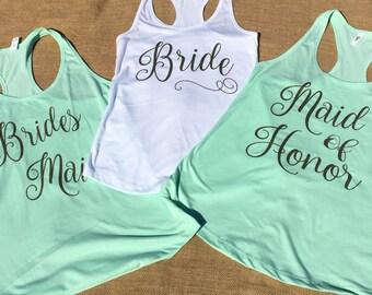 Bridal Party Tank Tops- Bride, Maid of Honor, and Bridesmaid Tanks