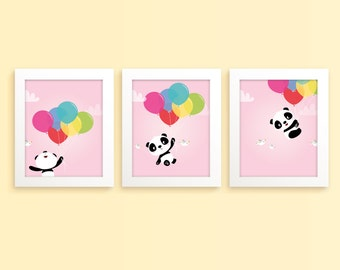 Panda print, nursery art girl, childrens art, kids room decor, panda bear, nursery wall art, new baby, girls nursery, girls room decor