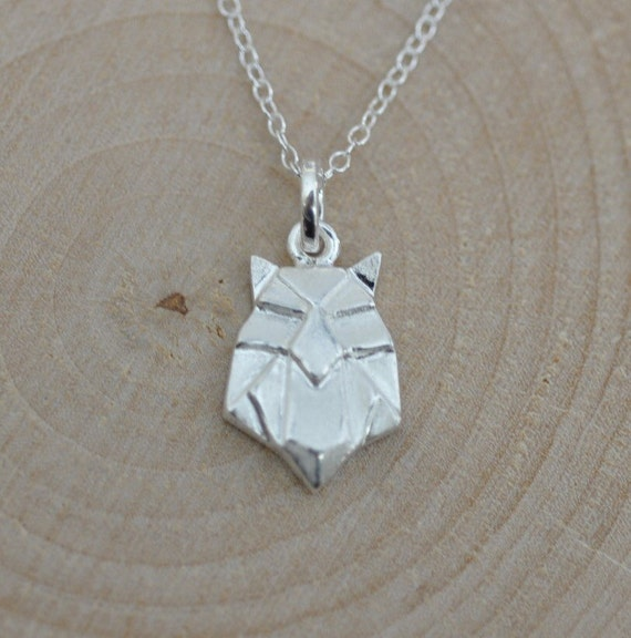 Sterling Silver Origami OWL Necklace Origami Animal Jewelry - photo#2