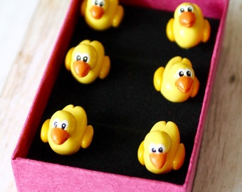 6 Tiny 'Ducky' Duck Push Pins for Notice Board, Pin Board, Cork Board, made to order, stationery, office, work accessories, decor