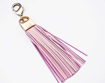 Pink Genuine Leather and Brass Tassel Keychain