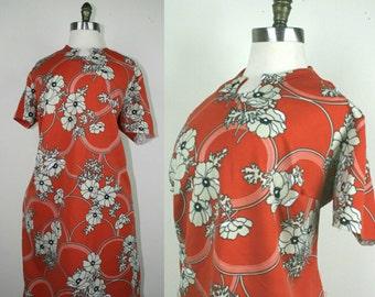 60s Hawaiian Dress Orange Scooter Shift Plus Size XXL