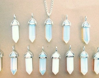 CLEARANCE IMPERFECT Opal Necklace Opalite Crystal Necklace Boho Punk Pastel Goth Soft Grunge Hipster Gemstone Necklace Opal Quartz Necklace