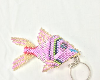 Fish Multicolor Beaded Keychain
