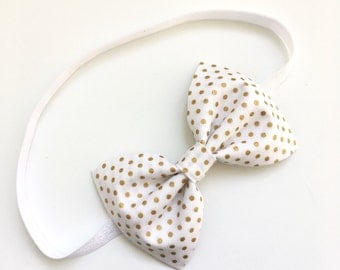 Gold and White Polka Dot Headband