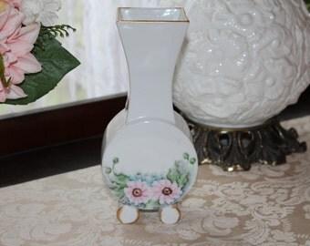 Vintage Hand Painted Flower Vase, Signed 1963 Pink Floral Vase