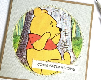 Winnie the Pooh congratulations handmade card / little golden book baby greeting card / gift baby card