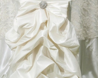 Wedding dress chair cover.