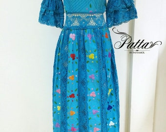 Vintage 1970s Mexican hand embroidered Dress / 70s Mexican crochet lace maxidress / hippie boho dress