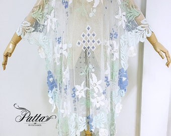 blue flowers crochet caftan maxi dress, lace kaftan, hippie boho bohemian dress