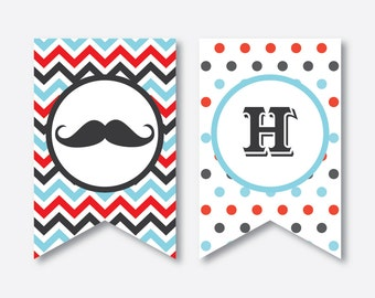 Instant Download, Mustache Party Banner, Mustache Happy Birthday Banner, Little Man Birthday Party Banner, Mustache Party Printable (SKB.27)