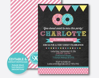 Instant Download, Editable Donut Birthday Invitation, Donut Invitation, Pink Donut Invitation, Girl Birthday Invitation, Chalkboard (CKB.10)