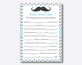 Instant Download, Mustache Baby Mad Libs, Mustache Baby Advice Cards, Mustache Baby Shower Mad Libs, Mustache Baby Shower Game, Blue(SBS.22)
