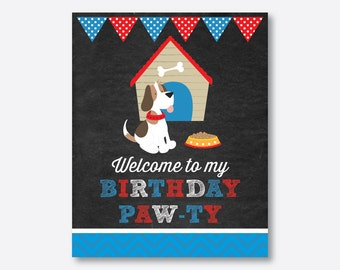 Instant Download, Puppy Welcome Sign, Dog Welcome Sign, Puppy Birthday Sign, Puppy Party Sign, Puppy Decoration, Blue, Chalkboard (CKB.25)